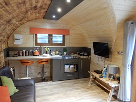 The Lodge Pod kitchen area